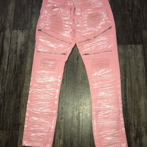 Other - Men's pink with white stressed jeans